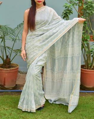 Light grey printed chanderi silk saree with blouse