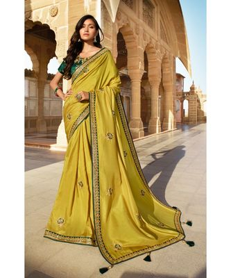 OLIVE GREEN DESIGNER HEAVY DOLA SILK WITH EMBROIDERY SAREES