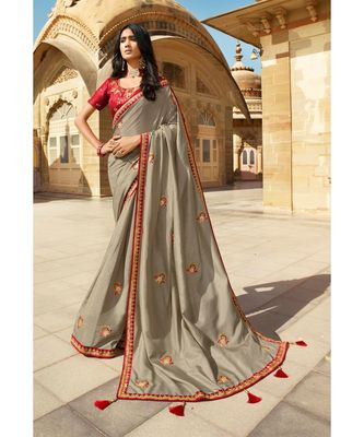 GREY DESIGNER HEAVY DOLA SILK WITH EMBROIDERY SAREES