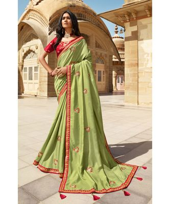 GREEN DESIGNER HEAVY DOLA SILK WITH EMBROIDERY SAREES