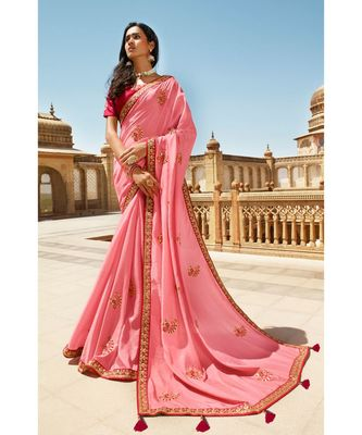 LIGHT PINK DESIGNER HEAVY DOLA SILK WITH EMBROIDERY SAREES