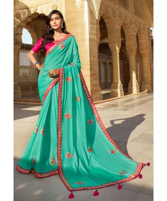 TURQUOISE DESIGNER HEAVY DOLA SILK WITH EMBROIDERY SAREES