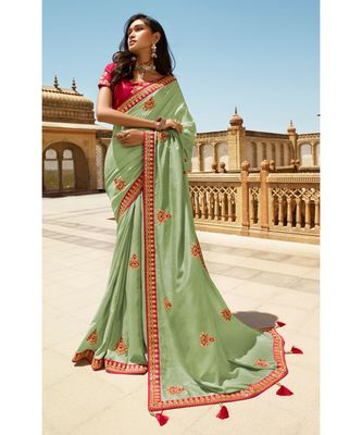 LIGHT GREEN DESIGNER HEAVY DOLA SILK WITH EMBROIDERY SAREES