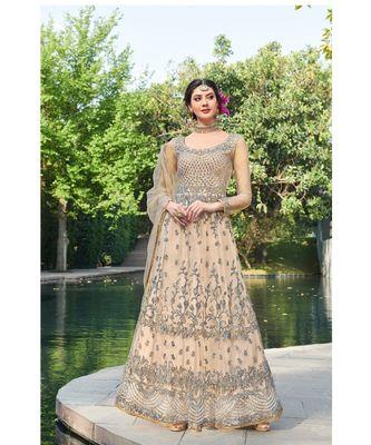 cream embroidered santoon semi stitched salwar with dupatta
