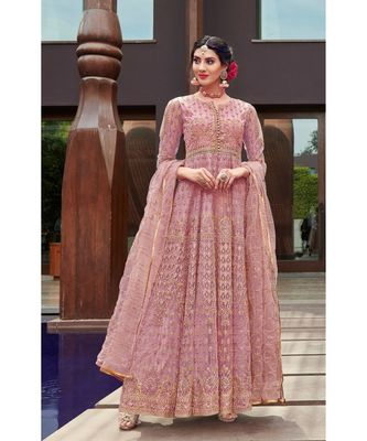 pink embroidered santoon semi stitched salwar with dupatta