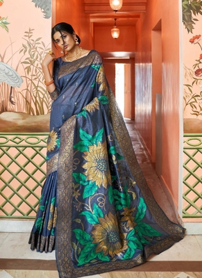 Lilac woven silk blend saree with blouse