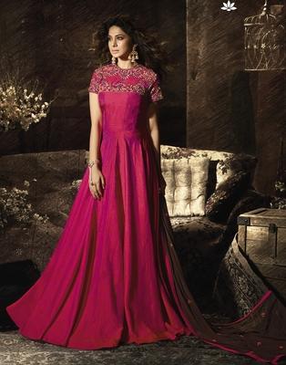 Pink embroidered banarasi salwar