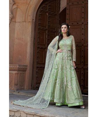 green embroidered santoon semi stitched salwar with dupatta