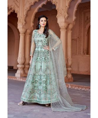 turquoise embroidered santoon semi stitched salwar with dupatta