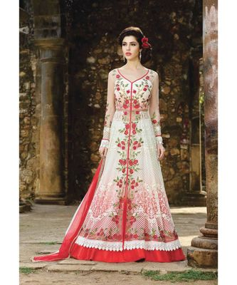 White and Red, Santoon,Semi Stiched,Fashion,Salwar kammez with dupatta