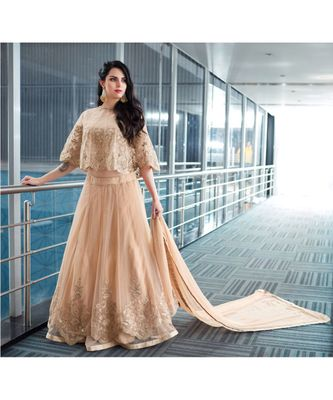 Cream Embroidred Net Semi Stiched Fashion Salwar Suit with Dupatta