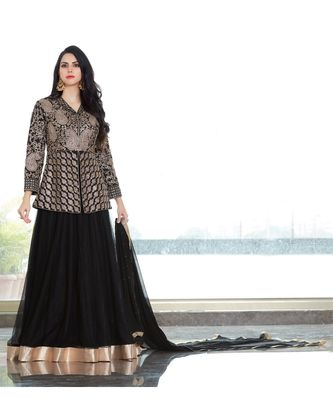 Black EmbroidredSatin and Net Semi Stiched Salwar Suit with Dupatta