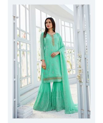 Turquoise Embroidred Georgette Santon Semi Stiched Suit with Dupatta
