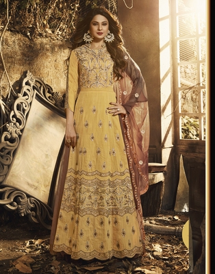 Yellow embroidered pure silk salwar