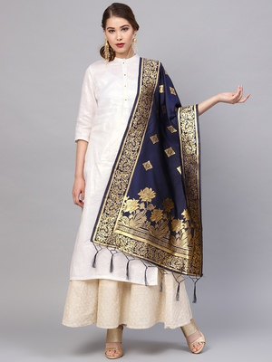 Sutram Women's Banarasi Blue Silk Dupatta