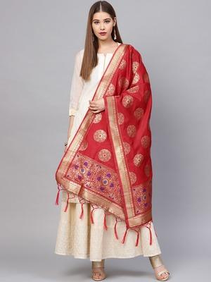 Sutram Women's Banarasi Red Silk Dupatta