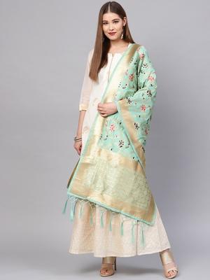 Sutram Women's Banarasi Green Silk Dupatta