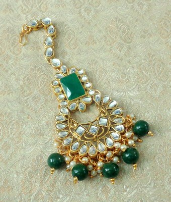 Lalso Designer Big Green Kundan Pearl Antique Gold Maang Tikka Mathapatti Hair Accessories Jewelry - LBKMT01_GR