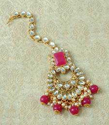 Lalso Designer Big Ruby Kundan Pearl Antique Gold Maang Tikka Mathapatti Hair Accessories Jewelry - LBKMT01_RB