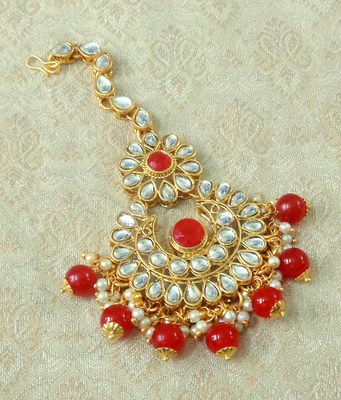 Lalso Designer Big Red Kundan Pearl Antique Gold Maang Tikka Mathapatti Hair Accessories Jewelry - LBKMT02_RD