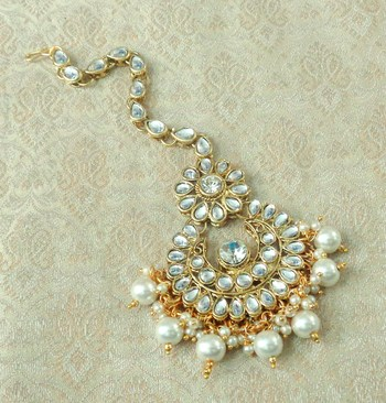 Lalso Designer Big White Kundan Pearl Antique Gold Maang Tikka Mathapatti Hair Accessories Jewelry - LBKMT02_WT