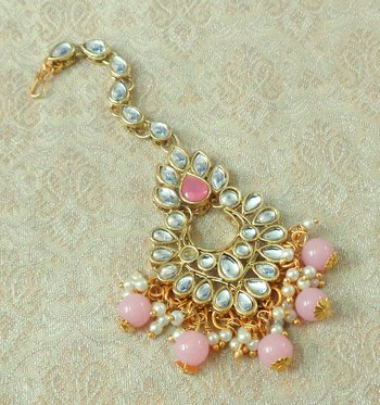 Lalso Designer Big Baby Pink Kundan Pearl Antique Gold Maang Tikka Mathapatti Hair Accessories Jewelry- LBKMT03_BP