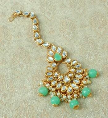 Lalso Designer Big Sea Green Kundan Pearl Antique Gold Maang Tikka Mathapatti Hair Accessories Jewelry - LBKMT03_SG