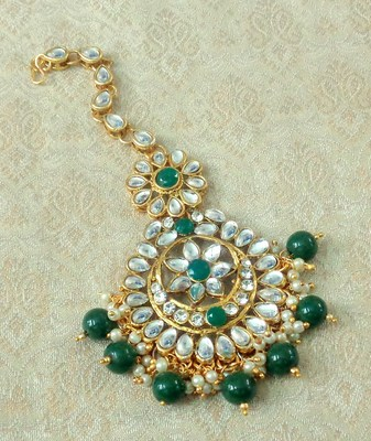 Lalso Designer Big Green Kundan Pearl Antique Gold Maang Tikka Mathapatti Hair Accessories Jewelry - LBKMT05_GR