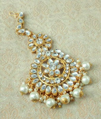 Lalso Designer Big White Kundan Pearl Antique Gold Maang Tikka Mathapatti Hair Accessories Jewelry- LBKMT05_WT
