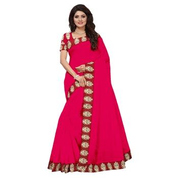 pink plain Chanderi Cotton Kalamkari  saree with blouse