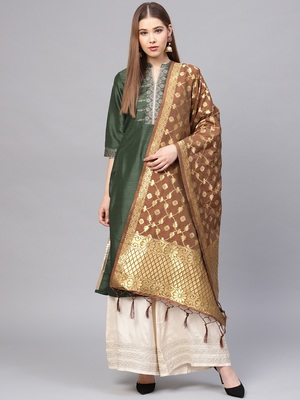 Sutram Women's Banarasi Brown Silk Dupatta