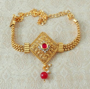 Lalso Designer Ruby Ball Chain Gold Plated Kundan 1pc Bajuband Armlet Jewelry Wedding Festival - LSBB02_RB