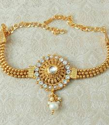 Lalso Designer White Ball Chain Gold Plated Kundan 1pc Bajuband Armlet Jewelry Wedding Festival - LSBB03_WT