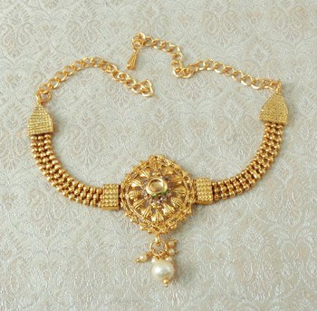 Lalso Designer LCT Ball Chain Gold Plated Kundan 1pc Bajuband Armlet Jewelry Wedding Festival - LSBB04_LCT