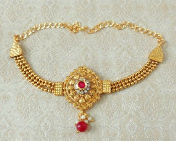 Lalso Designer Ruby Ball Chain Gold Plated Kundan 1pc Bajuband Armlet Jewelry Wedding Festival - LSBB04_RB