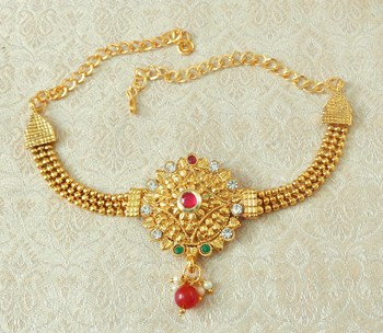 Lalso Designer Multicolour Ball Chain Gold Plated Kundan 1pc Bajuband Armlet Jewelry Wedding Festival - LSBB05_MG