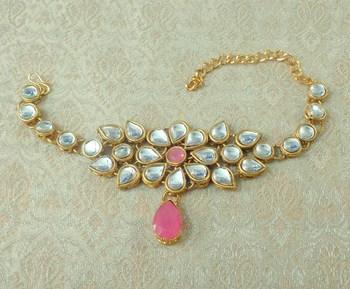 Lalso Designer Baby Pink Antique Gold Plated Kundan 1pc Bajuband Armlet Jewelry Wedding Festival - LKBB01_BP