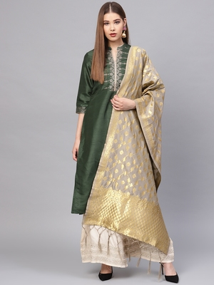 Sutram Women's Banarasi Grey Silk Dupatta