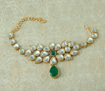 Lalso Designer Green Antique Gold Plated Kundan 1pc Bajuband Armlet Jewelry Wedding Festival - LKBB01_GR