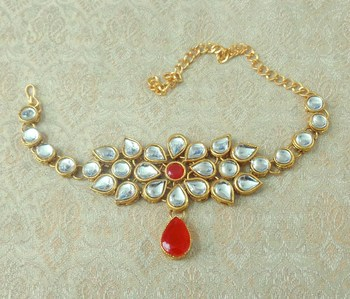Lalso Designer Red Antique Gold Plated Kundan 1pc Bajuband Armlet Jewelry Wedding Festival - LKBB01_RD