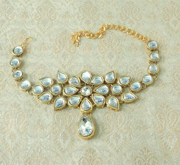 Lalso Designer White Antique Gold Plated Kundan 1pc Bajuband Armlet Jewelry Wedding Festival - LKBB01_WT