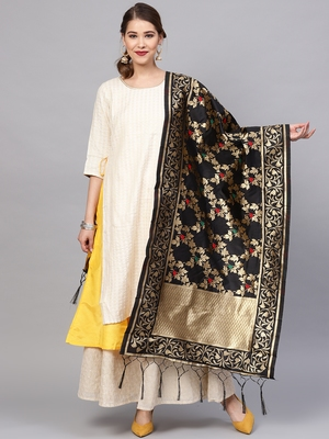 Sutram Women's Banarasi Black Silk Dupatta