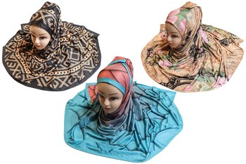 Justkartit Women's Organic Lycra Stretchable Material Printed Hijab Scarf Dupatta (Pack Of 3)