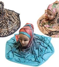 Justkartit Women'S Organic Lycra Stretchable Material Printed Hijab Scarf Dupatta (Pack Of 3)