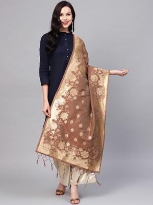 Sutram Women's Banarasi Brown Silk Dupatta