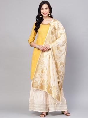 Sutram Women's Banarasi Beige Silk Dupatta