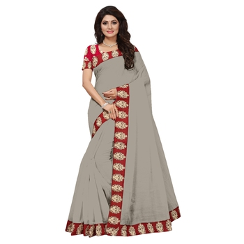 grey plain Chanderi Cotton Kalamkari  saree with blouse