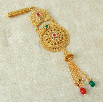 Lalso Designer Multicolour Gold Plated Kundan Single Juda Kamarband Waistbelt Hip Jewelry Wedding Festival - LSJ11_MG