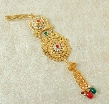 Lalso Designer Multicolour Gold Plated Kundan Single Juda Kamarband Waistbelt Hip Jewelry Wedding Festival - LSJ06_MG