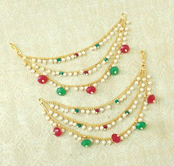Lalso Designer Bahubali Style Multicolour Copper Brass Ear Chain Kaan Chain - LEC08_MG